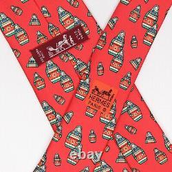 Hermes Mens Silk Necktie Red Green Blue Russian Nesting Dolls Tie France 7529 IA
