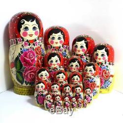 Huge Matryoshka Babushka Russian Semenov Nesting doll 30 pcs Hand painted #25