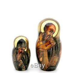 ICON Nesting Dolls Russian Orthodox Our Lady Virgin of Don Baby Jesus 7 signed