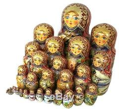 Incredible 30 Pieces Nesting Doll (matrioshka, matryoshka) Fairy-Tales- Signed
