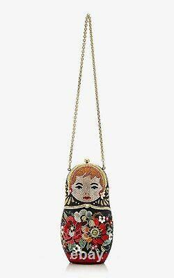 Judith Leiber Nesting Doll Russian Matryoshka Crystal Minaudiere Clutch Purse
