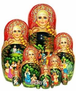 Kalinka Nesting Doll 10 Piece Russian Exclusive Babushka Stacking Hand Painted