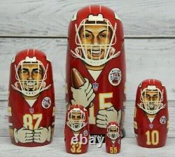 Kansas City Chiefs Football NFL Sport Doll 7.08 Hand Painted Russian Nesting