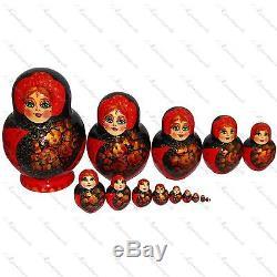 Khokhloma traditional russian doll Handpainted 15pc Art matryoshka babushka doll