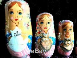 LARGE vintage nesting dolls Russian family of 10 with cats on ea pc rare decor