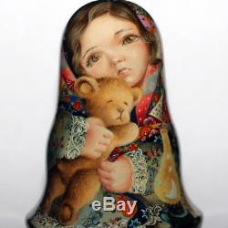 LULLABY doll roly poly Russian ART matryoshka no nesting scrappy blanket bear