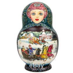 Large 30 pc Russian Nesting dolls Matryoshka set Russian Troika 13 Handmade