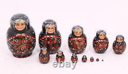 Large 7.5 Inch Russian Matryoshka Hand Painted Nesting Dolls 12 Pcs