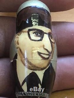 Large 8 signed Russian leaders nesting dolls 7 piece set