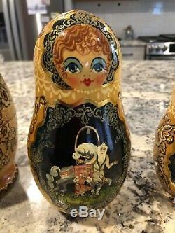 Large 9.5 Russian Matryoshka Nesting Dolls Set of 10 Signed