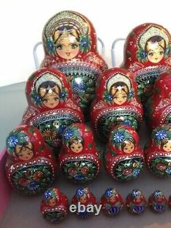Large Hand Painted Glitter Lacquer Wood Russian Nesting Dolls Set of 30 Signed