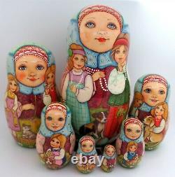 Large Matryoshka Russian Nesting Dolls Unique Children Girl Boy 7 SILIVANOVA ART
