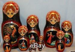 Large Russian Matryoshka Hand Painted Nesting Dolls Set of 12 Russian Fairy Tale