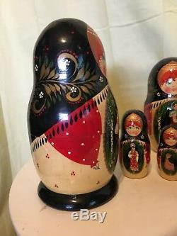 Large Russian Matryoshka Nesting Doll (9 dolls) Signed Hand Painted Mockba 1996