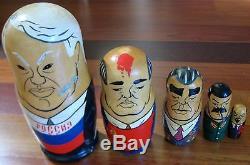 Large Soviet Russian Nesting Doll 5 Piece Matryoshka 1990 Gorbachev Stalin Lenin