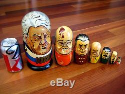 Large Soviet Russian Nesting Doll 7 Piece Matryoshka 1990 Gorbachev Stalin Tzar