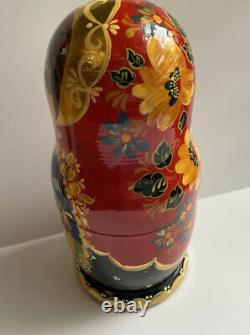 Large Vintage 10 SIGNED Hand Painted Wood Russian Nesting Dolls Matryoshka