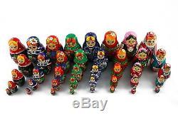 Lot 8 Matryoshka Russian Nesting Doll Wooden Puppe Poupee Babushka Gift 5 pcs