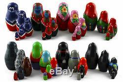 Lot 8 Matryoshka Russian Nesting Dolls Babushka Matroesjka Babooshka 5 Pcs