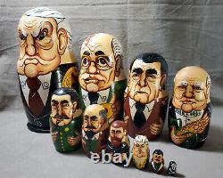 MATRYOSHKA Russian President Nesting Dolls USSR Leaders 10 pc Grotesque Portrait