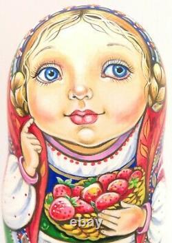 MATRYOSHKA Russian nesting dolls ORIGINAL CHMELEVA 5 Cute Girls & Cat UNIQUE ART