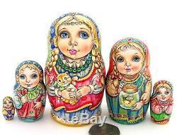 MATRYOSHKA SMALL Russian Neting Dolls CHMELEVA 5 exclusive ART CUTE KITTEN