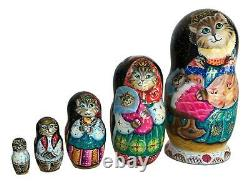 Mama Cat with Baby Kitten Russian Hand Carved Hand Painted UNIQUE Nesting Doll