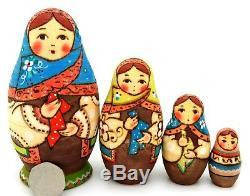 Martryoshka Babushka & Handkerchiefs Russian Blue Green stacking dolls 4 RYABOVA