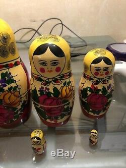 Matpewka Wooden RUSSIAN NESTING DOLLS 10 Dolls 11 inch USSR 1990