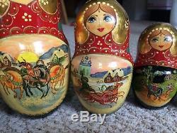 Matrioshka Russian Soviet Authentic Hand painted wooden nesting Dolls