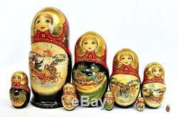 Matrioshka Russian Vintage Authentic Hand painted wooden nesting Dolls