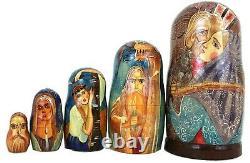 Matrioshka Unique Russian Nesting Doll 19 Century Russian Village Scenes-Signed