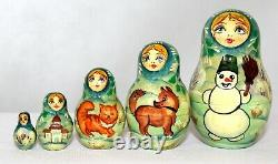 Matrioshka Unique Russian Nesting Doll Joy of Russian Winter-10 Pieces