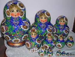 Matrioska Russa Da 15 Pezzi /bambola DI Legno Russian Nesting Dolls