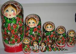 Matrioska Russa Da 15 Pezzi /bambola DI Legno Russian Nesting Dolls 30 CM