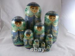Matryoshka 10 Piece Hand Made Russian Nesting Doll Signed Nashnooka Krechet 10