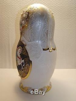 Matryoshka, 10 pieces, 12, Russian lacquer miniature, Palekh, exclusive, author
