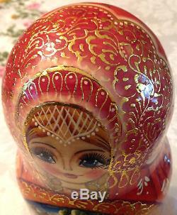 Matryoshka 7 Nesting Dolls Signed Russian Fairy Tale Beautiful Authentic