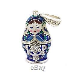 Matryoshka Enamel Russian Doll Pendant Sterling Silver 925 Enameled 1 1/2