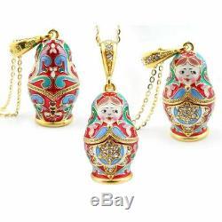 Matryoshka Enamel Russian Doll Pendant Sterling Silver 925 Gold Plated & Enamel