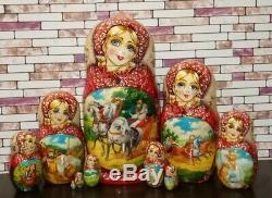 Matryoshka Handmade toy wooden toy hand-painted exclusive Russian nested doll