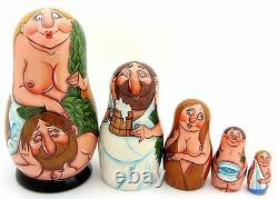 Matryoshka Nesting Russian Dolls NUDE 5 BANYA SAUNA ABAKUMOVA signed