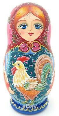 Matryoshka Rooster Cat Russian 5 nesting dolls hand painted signed Beletskaya
