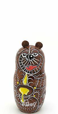 Matryoshka Russian Dolls Nesting BROWN BEAR FAMILY Babushka hand painted MATT