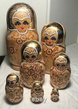 Matryoshka Russian Nesting Doll Exquisite, 7 dolls Elaborate Gold