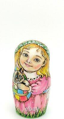 Matryoshka Russian Nesting Dolls 5 CHMELEVA HAND PAINTED BOY Children Horse Dog