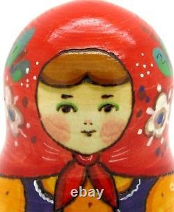 Matryoshka Russian Nesting Dolls 5 TRADITIONAL Babushka & Chicken RYABOVA signed