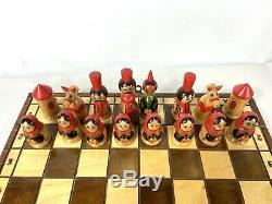 Matryoshka Russian Nesting Dolls Folding Chess Board and Pieces