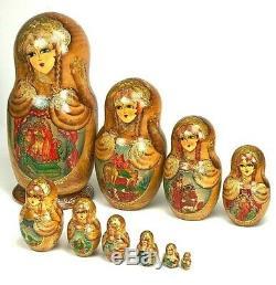 Matryoshka Russian Nesting Dolls Museum Quality 10 Nest 10 Inch