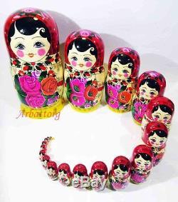 Matryoshka Russian Semenovskaya Nesting dolls Babushka Hand Painted Wood 20 pcs